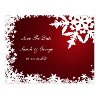 Postal los copos de nieve rojos ahorran la fecha