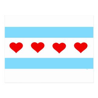 Postal Los corazones y las rayas honorarios de Chicago