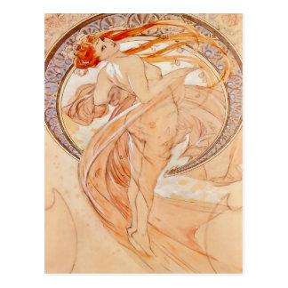 Postal Los cuatro artes - danza, arte Nouveau