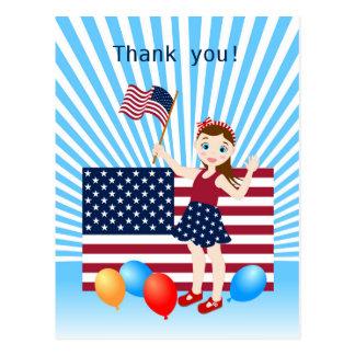 Postal Los E.E.U.U. bandera fiesta del chica del