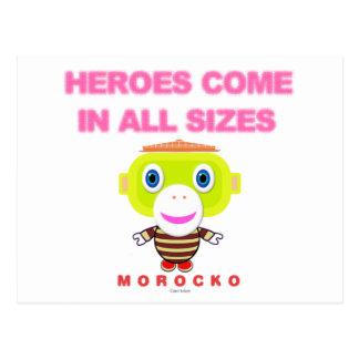 Postal Los héroes vienen en todo el Mono-Morocko