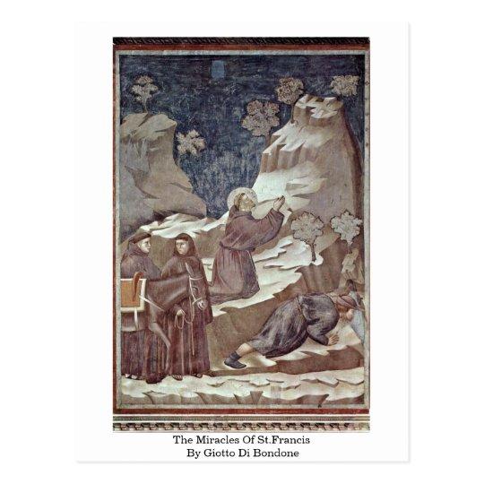 Postal Los milagros de St Francis de Giotto Di Bondone