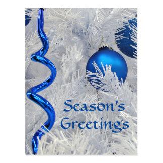 Postal Los ornamentos azules del navidad cutomize