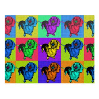 Postal Los paneles del Dachshund del arte pop