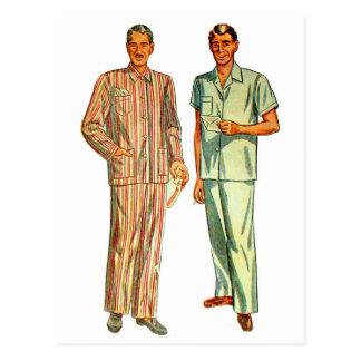 Postal Los pijamas del vintage de los hombres retros del