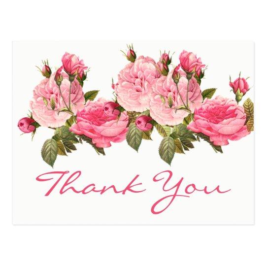 Postal Los rosas rosados florales del vintage le