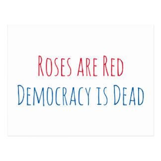 Postal Los rosas son rojos, democracia son muertos