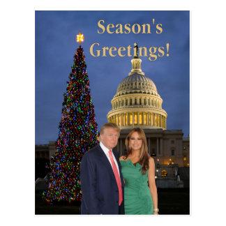Postal Los saludos de la estación de Donald y de Melania