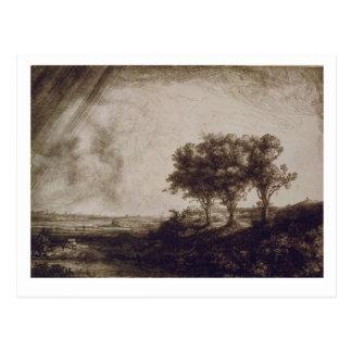 Postal Los tres árboles