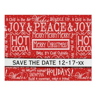 Postal Los versos del navidad ahorran la fecha