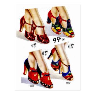 Postal Los zapatos del vintage del kitsch de las mujeres