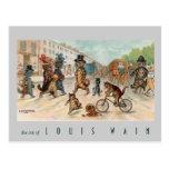 Postal Louis Wain - gatos de la ciudad - arte del vintage