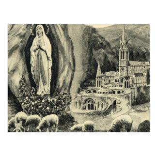 Postal Lourdes, del vintage de la reproducción