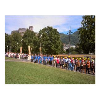 Postal Lourdes, procesión del enfermo, cuadrado del