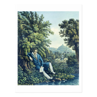 Postal Ludwig van Beethoven por un río (engravin