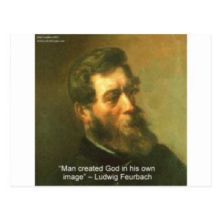 Postal Luis Feurbach y cita creada hombre de dios