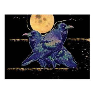 Postal Luna fantasmagórica de los cuervos por Sharles