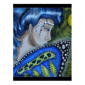 Postal Luna Llena de hadas enmascarada azul