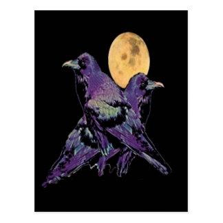 Postal Luna púrpura mística del cuervo por Sharles