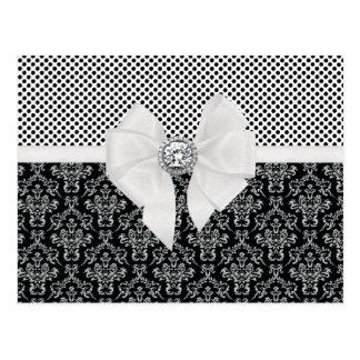 Postal Lunares negros del vintage y blancos elegantes del
