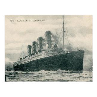 Postal Lusitania de los SS del vapor