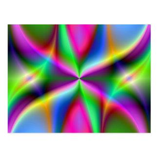 Postal Lustre metálico colorido del fractal