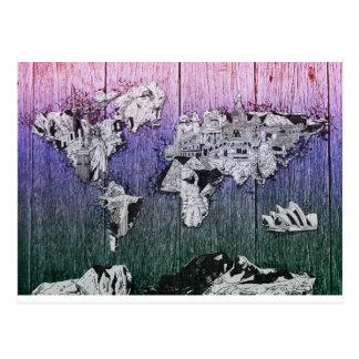 Postal madera 6 del mapa del mundo
