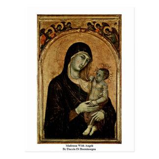 Postal Madonna con ángeles de Duccio Di Buoninsegna