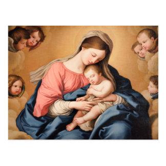 Postal Madonna con el niño y ángeles