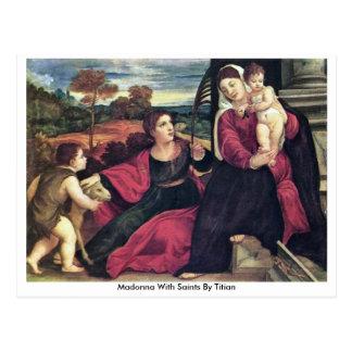 Postal Madonna con los santos por Titian