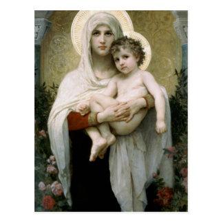 Postal Madonna de Bouguereau de los rosas (1903)