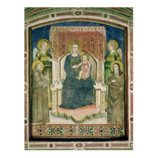 Postal Madonna Enthroned con St Francis de Assisi