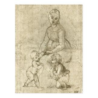 Postal Madonna w Cristo y St. John el Bautista por