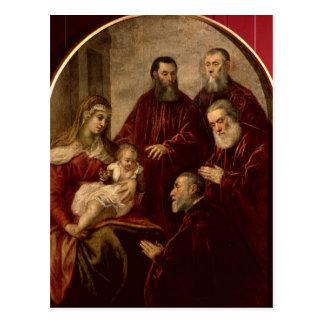 Postal Madonna y niño con cuatro estadistas