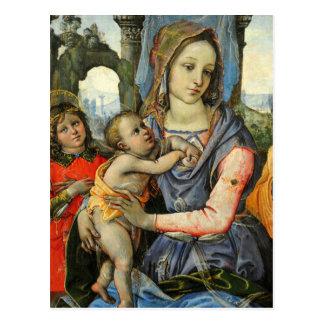 Postal Madonna y niño con San José y un ángel
