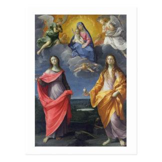 Postal Madonna y niño con St. Lucy y Maria Magdalena