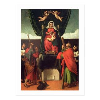 Postal Madonna y niño Enthroned con cuatro santos, 1546