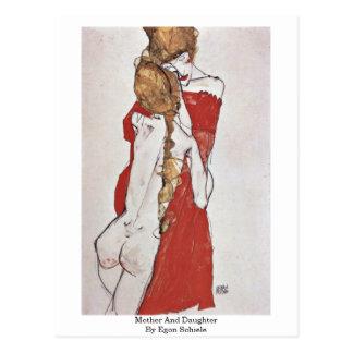 Postal Madre e hija de Egon Schiele