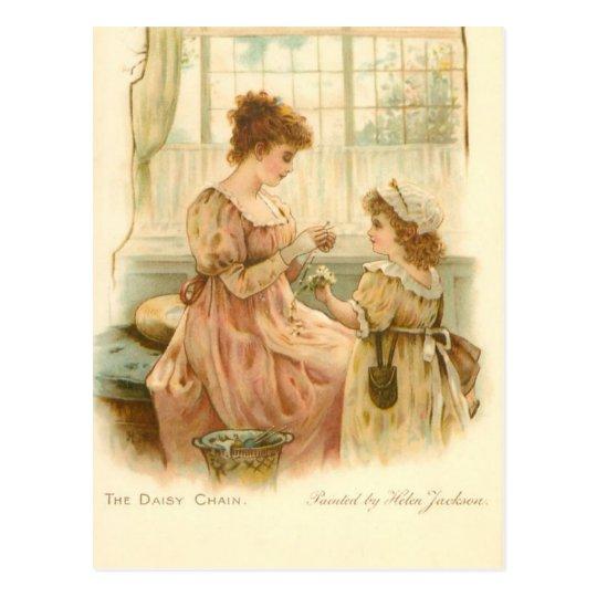 Postal Madre e hija del vintage