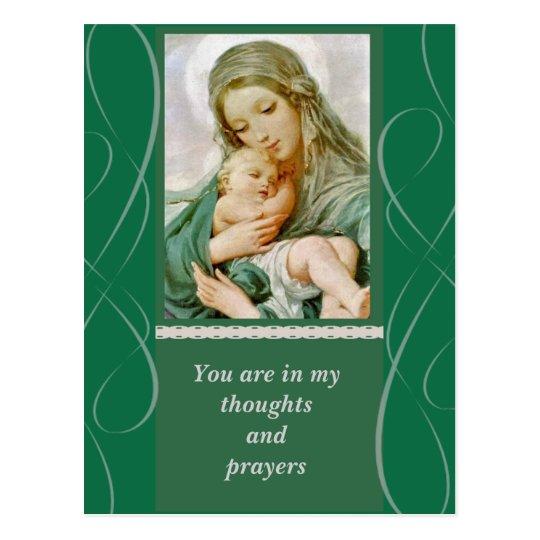 Postal Madre Maria de la Virgen con el bebé Jesús