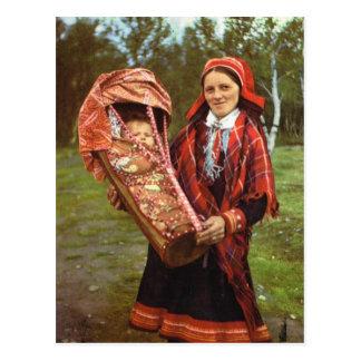 Postal Madre y bebé, Laponia del vintage Noruega, de Sami