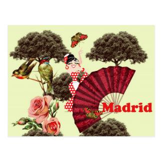 Postal Madrid España flamenca pajaritos y rosas