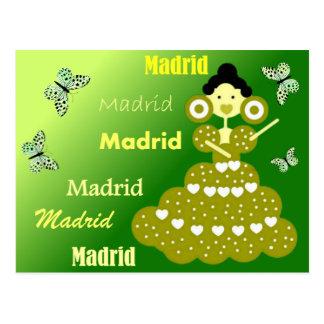 Postal Madrid España, mariposas en verde primavera