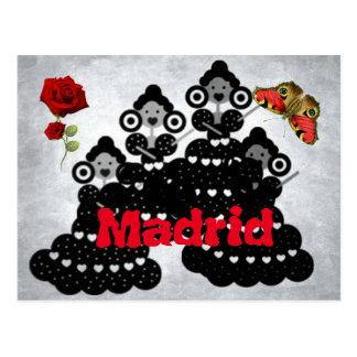 Postal Madrid España. rosas, flamenca y mariposas