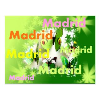 Postal Madrid primavera inundación de colores y mariposas