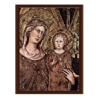 Postal Maestà Madonna Enthroned como el santo patrón