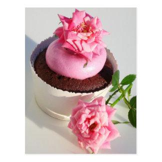 Postal Magdalena del chocolate con color de rosa rosado