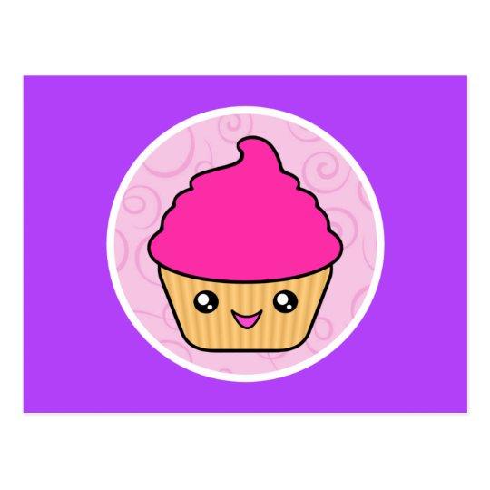 Postal Magdalena del rosa de la torta de Kawaii Cuppy