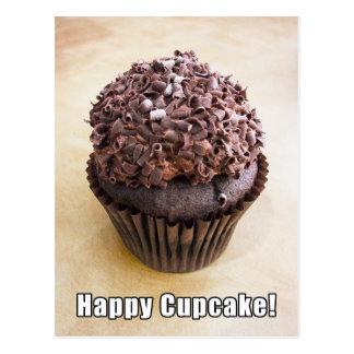 Postal Magdalena feliz del chocolate del rizo del