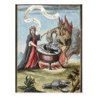 Postal Mago y dragón en la caldera de la alquimia
